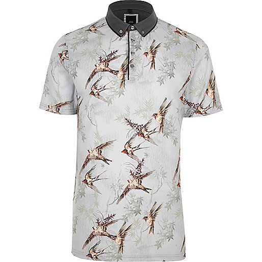 Light grey bird print slim fit polo shirt