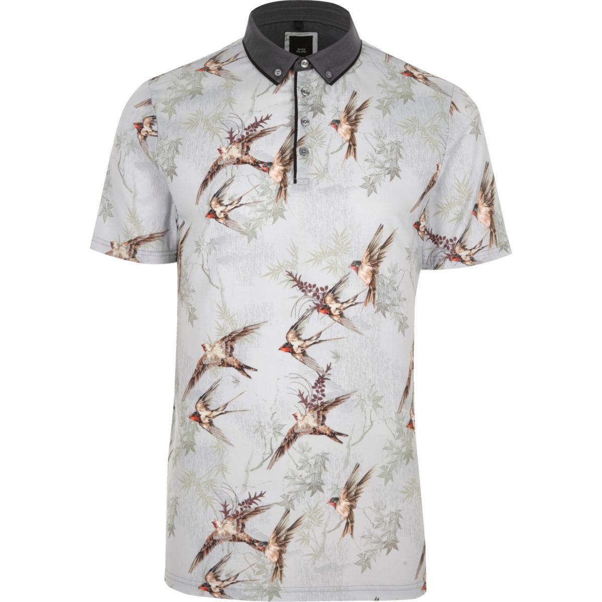 Light grey bird print slim fit polo shirt