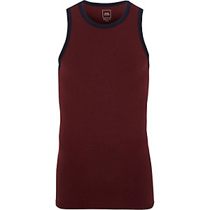 Dark red muscle fit ringer vest