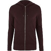 Dark purple muscle fit zip up hoodie
