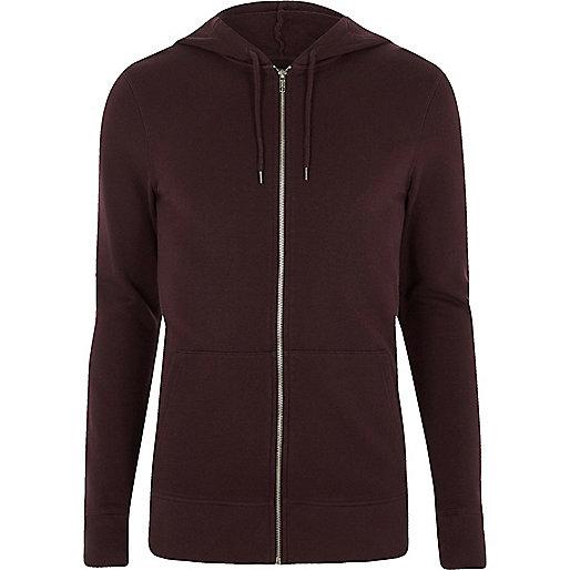 Dark purple muscle fit zip up hoodie