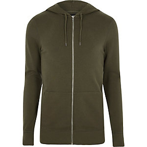 Khaki green muscle fit zip up hoodie