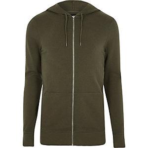 Kakigroene aansluitende hoodie met rits