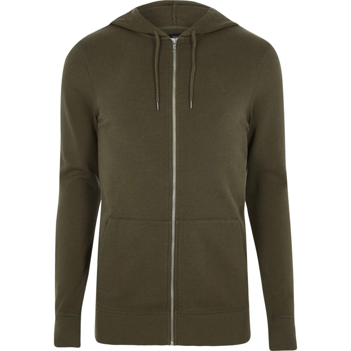 Khaki green muscle fit zip up hoodie