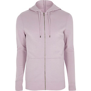 Light purple muscle fit zip up hoodie