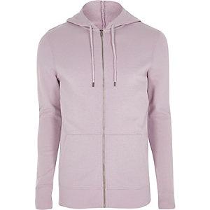 Lichtpaarse aansluitende hoodie met rits