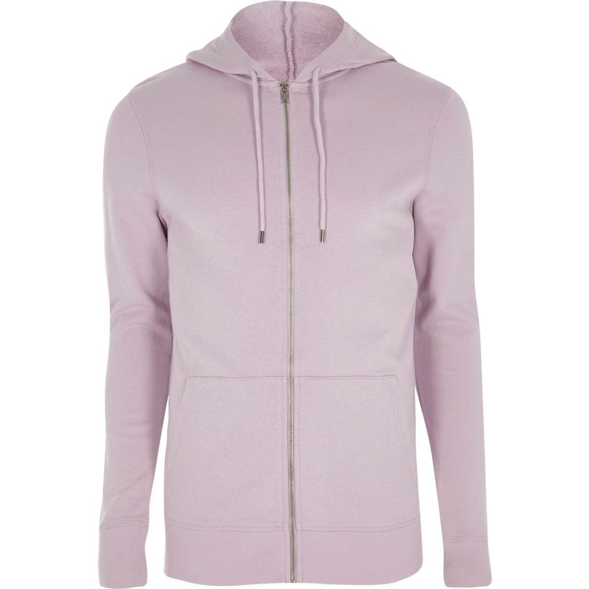 Light purple muscle fit zip up hoodie