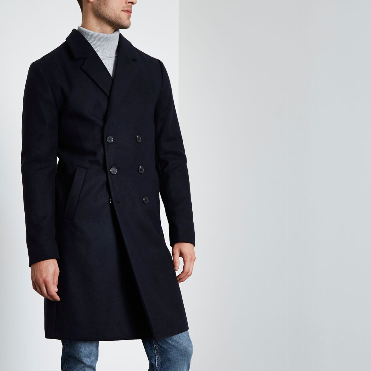 Navy double breasted overcoat