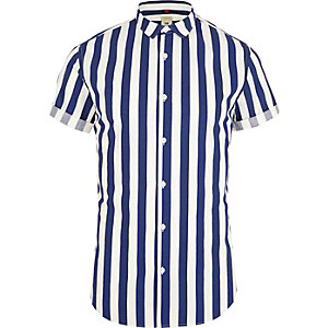 Blue stripe short sleeve slim fit shirt
