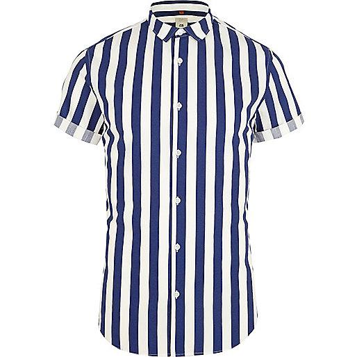 Blue stripe short sleeve slim fit shirt