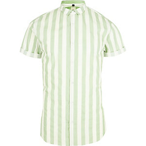 Green stripe short sleeve slim fit shirt