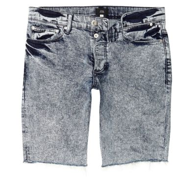 Blauwe acid wash skinny-fit denim jeans