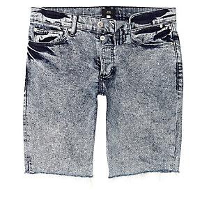 Blaue Skinny Fit Jeans in Acid-Waschung
