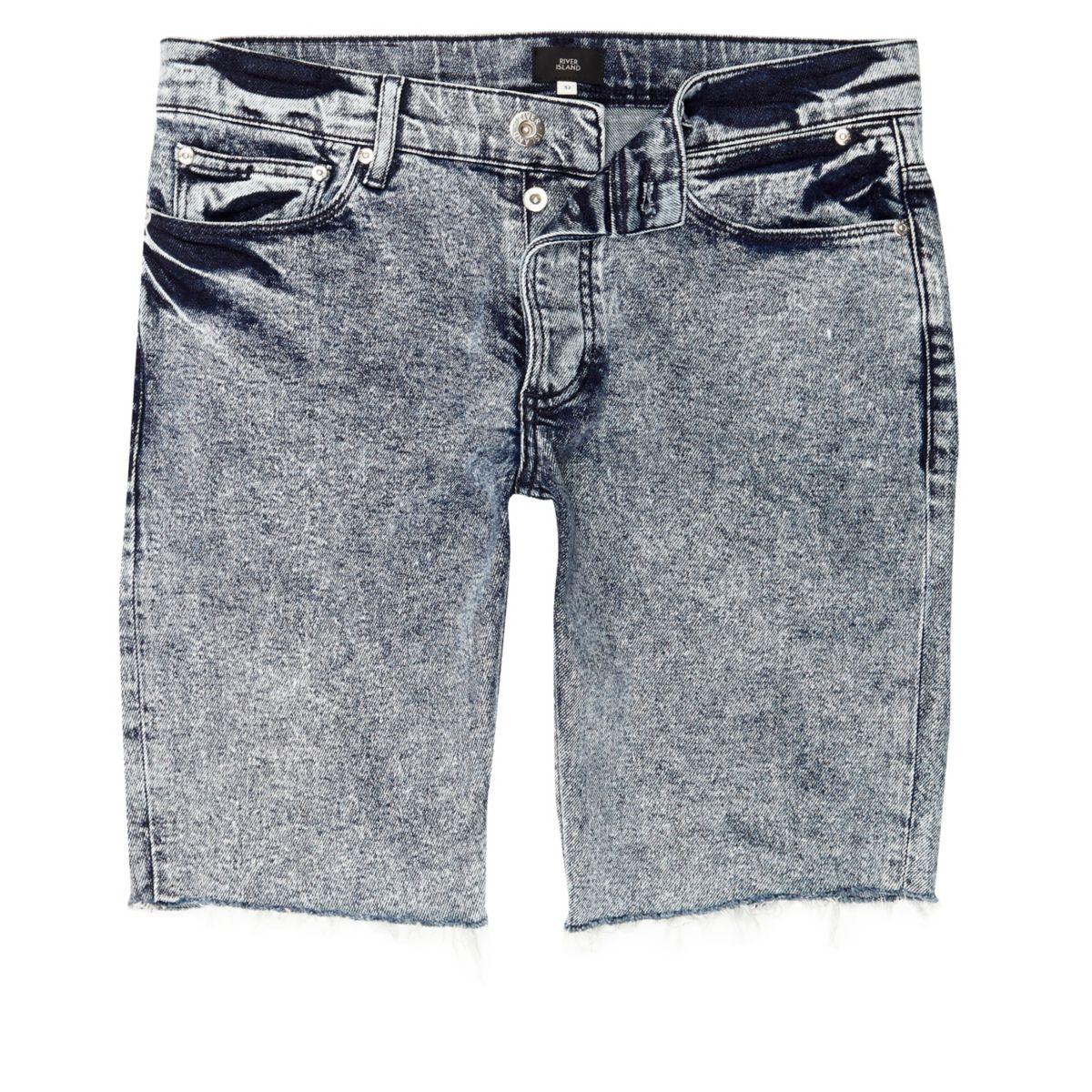 blaue skinny fit jeans in acid waschung shorts sale. Black Bedroom Furniture Sets. Home Design Ideas