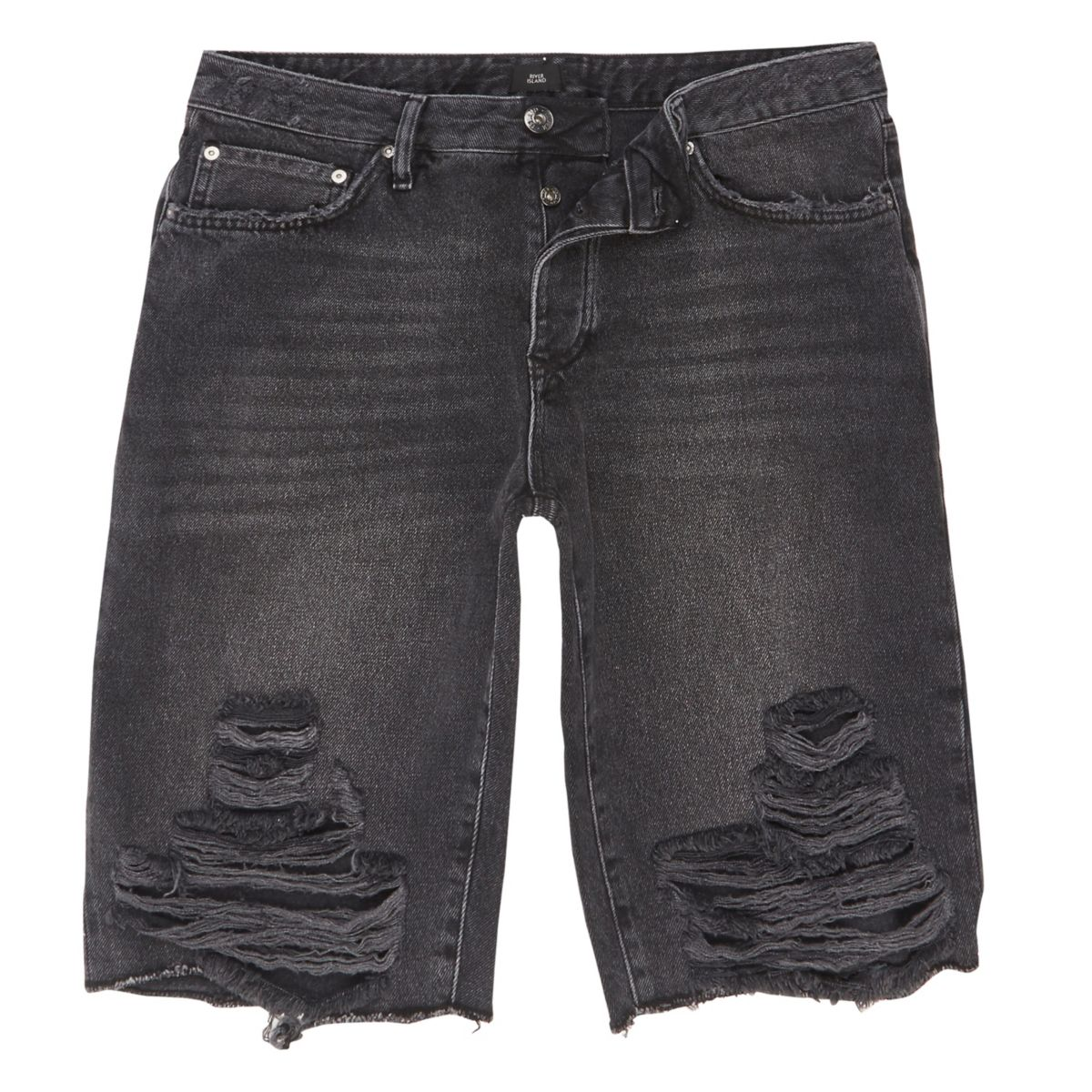 Black wash ripped knee denim shorts