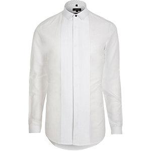 Plissiertes, langärmliges Slim Fit Hemd
