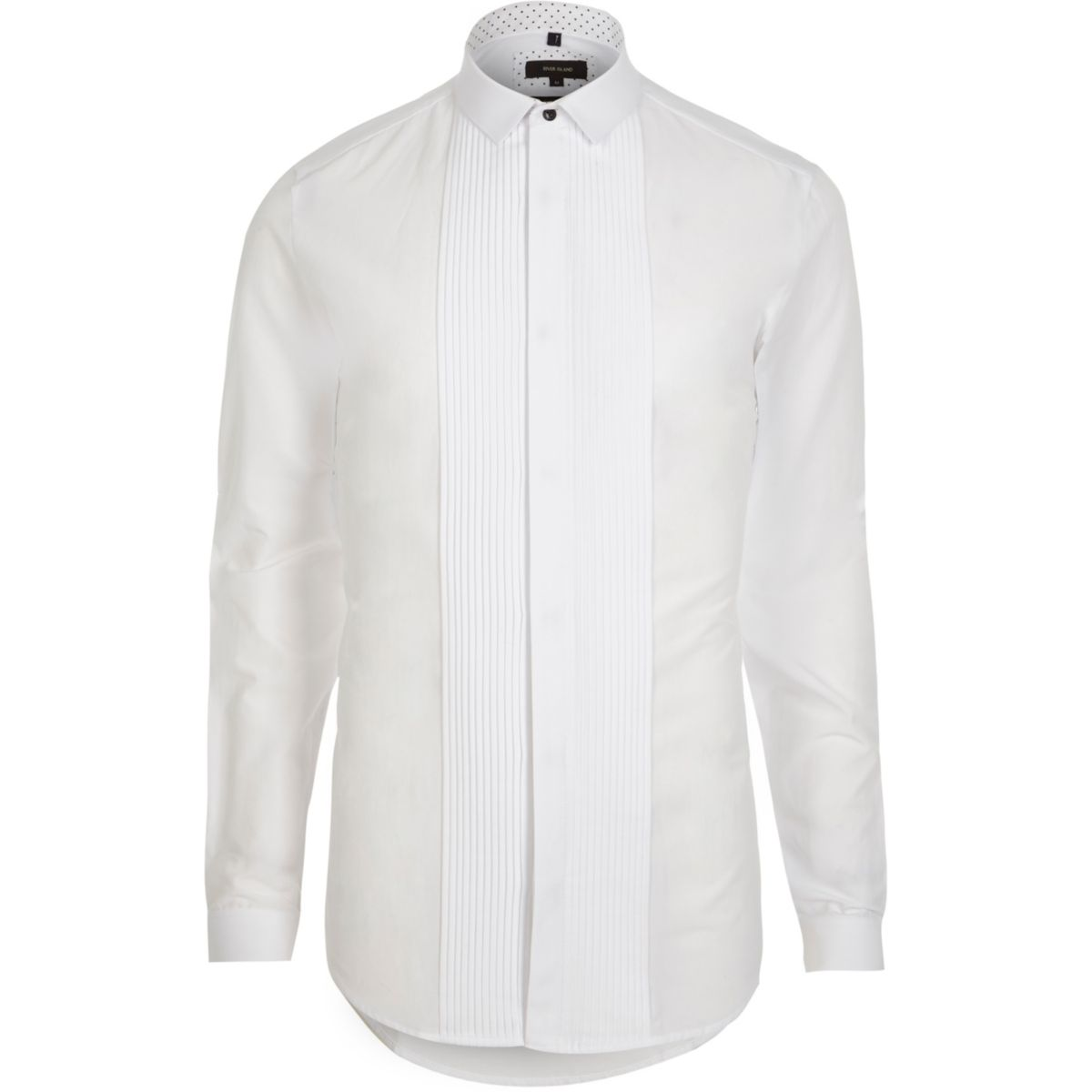 White pleated long sleeve slim fit shirt