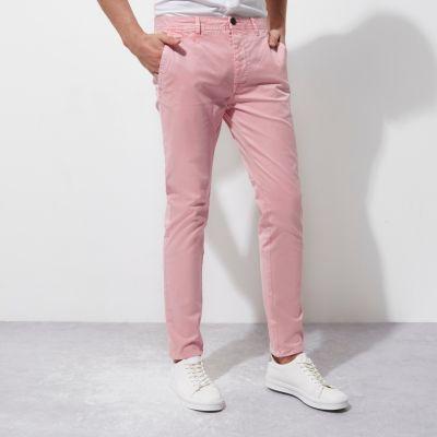 River Island Pantalon chino rose coupe skinny