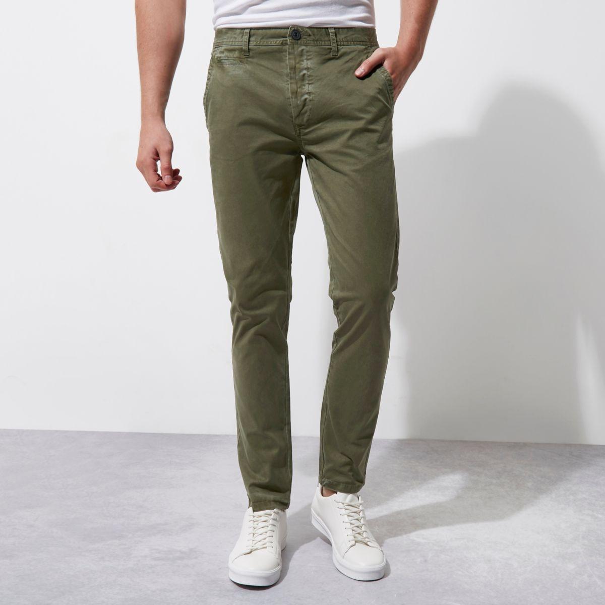 Dark green skinny chino trousers