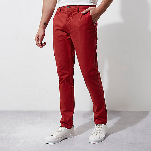 Red skinny chino trousers
