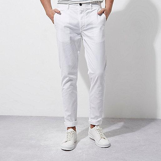 White skinny chino pants