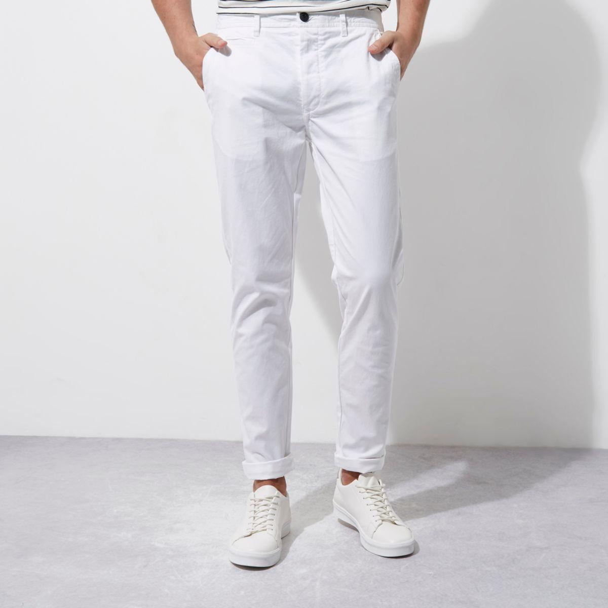 White skinny chino trousers