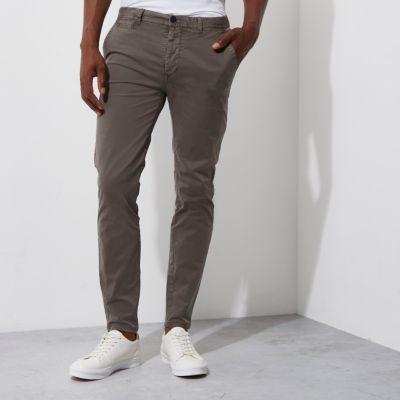 River Island Pantalon chino super skinny gris
