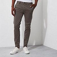 Pantalon chino super skinny gris