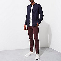 Purple super skinny fit chino trousers