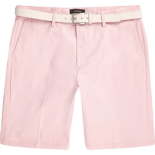Pink belted chino shorts