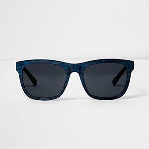Blue wood effect retro sunglases