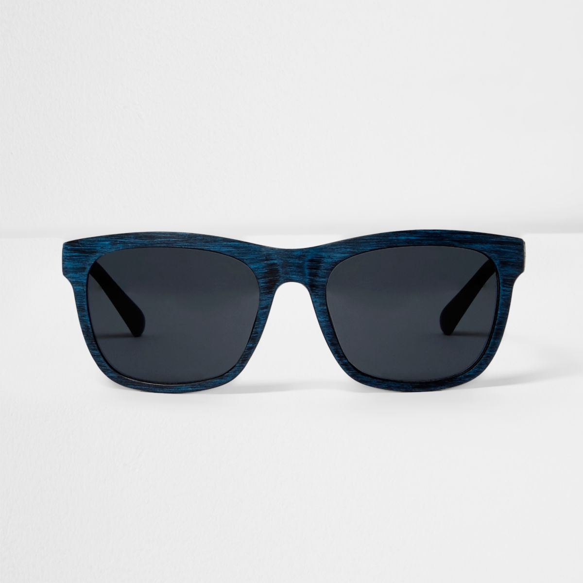 Blue wood effect retro sunglases