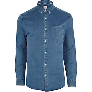Blue muscle fit button-down denim shirt