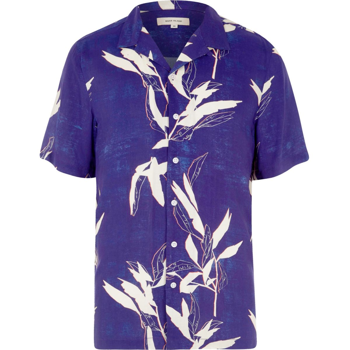 Blauw overhemd met korte mouwen, reverskraag en bladprint