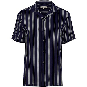 Marineblaues, kurzärmliges Slim Fit Hemd