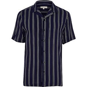Chemise slim rayée bleu marine à manches courtes