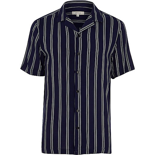 Navy stripe short sleeve slim fit shirt