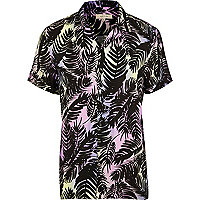 Purple palm print revere short sleeve shirt