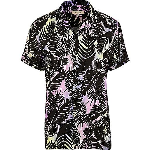 Purple palm print revere short sleeve shirt