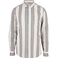 Cream stripe long sleeve shirt