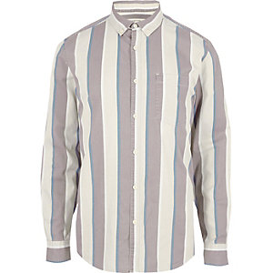 Cream stripe long sleeve shirt