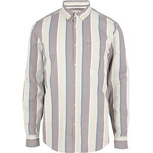 Gestreiftes, langärmeliges Hemd in Creme