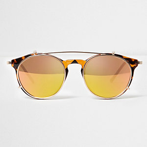 Yellow clip on round sunglasses