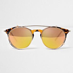 Gele clip-on ronde zonnebril
