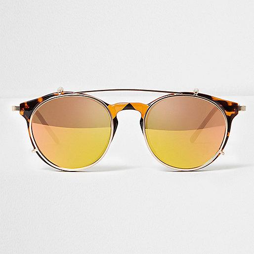 Yellow clip on round sunglasses
