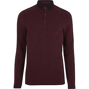 Dark red muscle fit long sleeve polo shirt