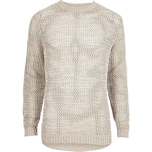 Stone mesh knit slim fit sweater