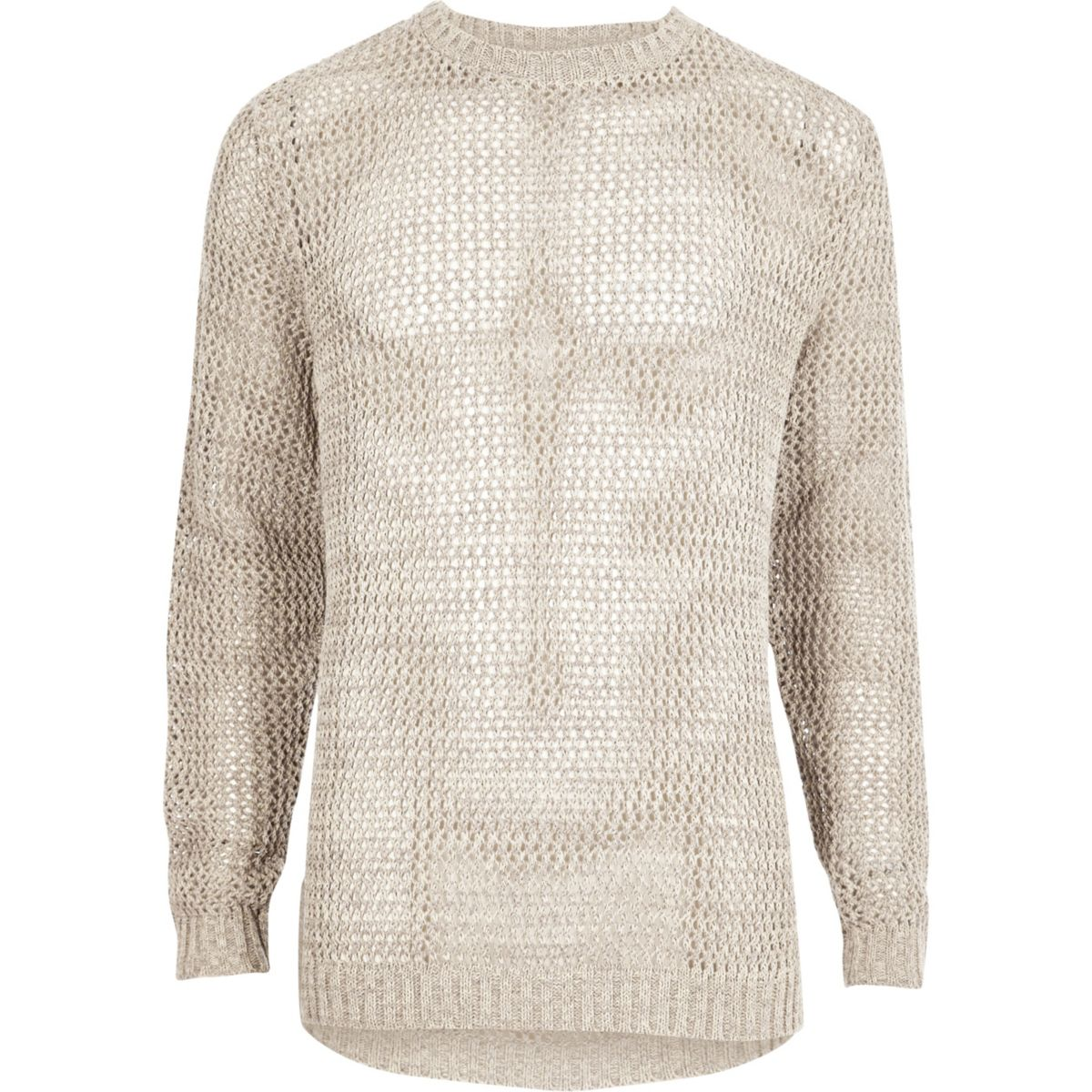 Stone mesh knit slim fit sweater
