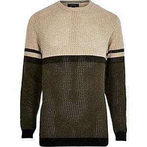 Slim Fit Pullover in Khaki mit Streifen