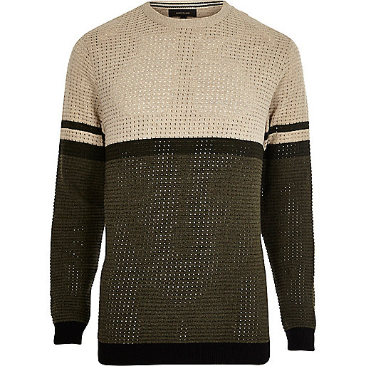 Khaki contrast stripe block slim fit sweater